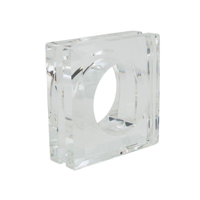 Crystal Glass Double Edge Square Block Napkin Ring