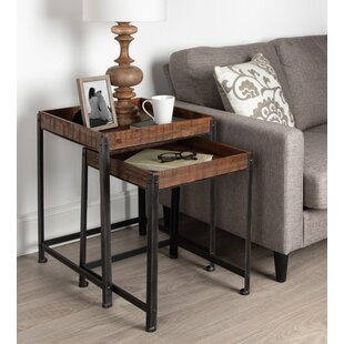 Malachy Rustic-Modern Side Accent 2 Piece Nesting Tables