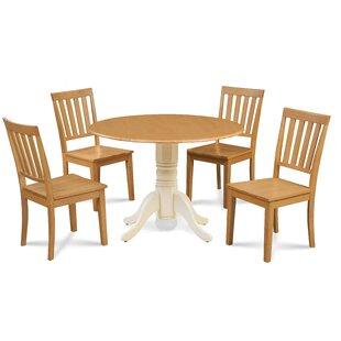 Abner 5 Piece Drop Leaf Solid Wood Dining Set