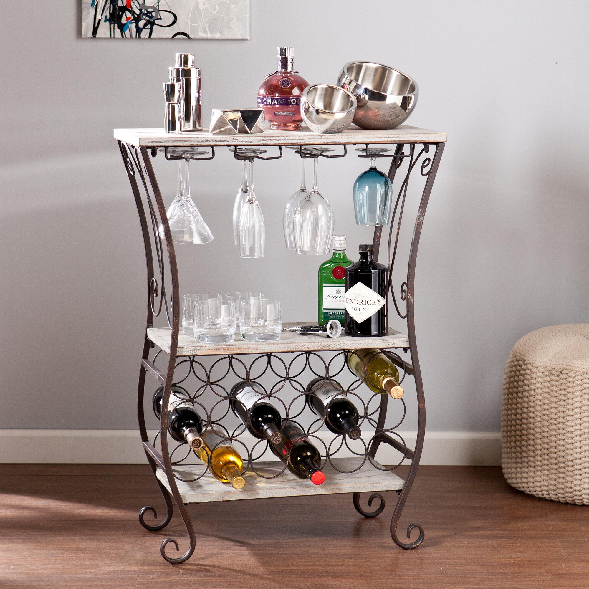 Wildon Home Arsenio 18 Bottle Floor Wine Bottle And Glass Rack Reviews Wayfair
