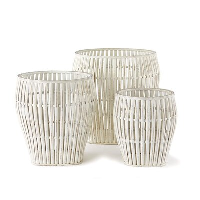 Breakwater Bay Bamboo 3 Piece Basket Set Color: White wash