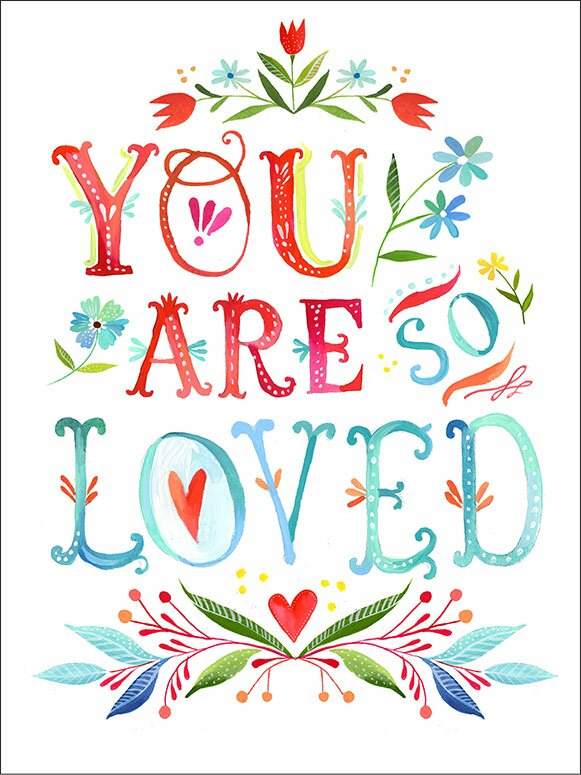 You Are So Loved by Katie Daisy Framed Graphic Art. Happy LOVE Day, Lovelies! Poetry, handlettered art, and colorful Valentine's Day finds await on Hello Lovely Studio!