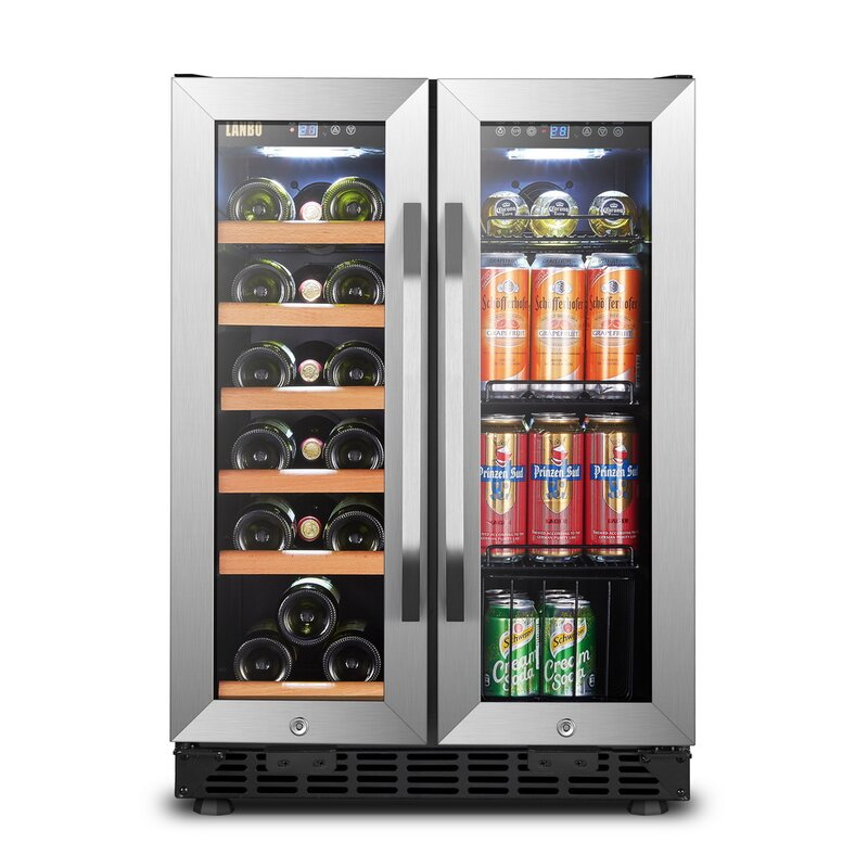 Lanbo 18 Bottle and 55 Can Dual Zone Freestanding Wine and Beverage Refrigerator