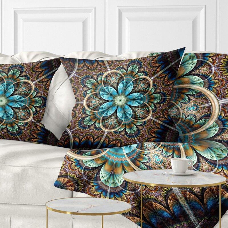 East Urban Home Floral Large Fractal Flower Pillow Wayfair