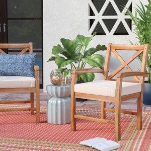 Calvert X-Back Acacia Patio Chair with Cushions (Set of 2)