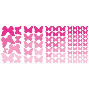 Flutter Butterflies 75 Piece Wall Decal Set by Room Mates