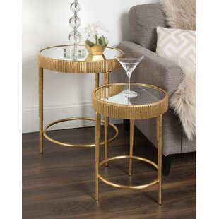 Marley Round Modern Accent 2-Piece Nesting Tables by Mercer41