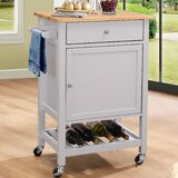 Chelmsford Kitchen Cart with Wood Top by Red Barrel Studio®