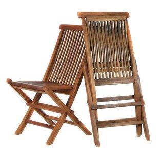 Humphrey Folding Teak Patio Dining Chair (Set of 2)