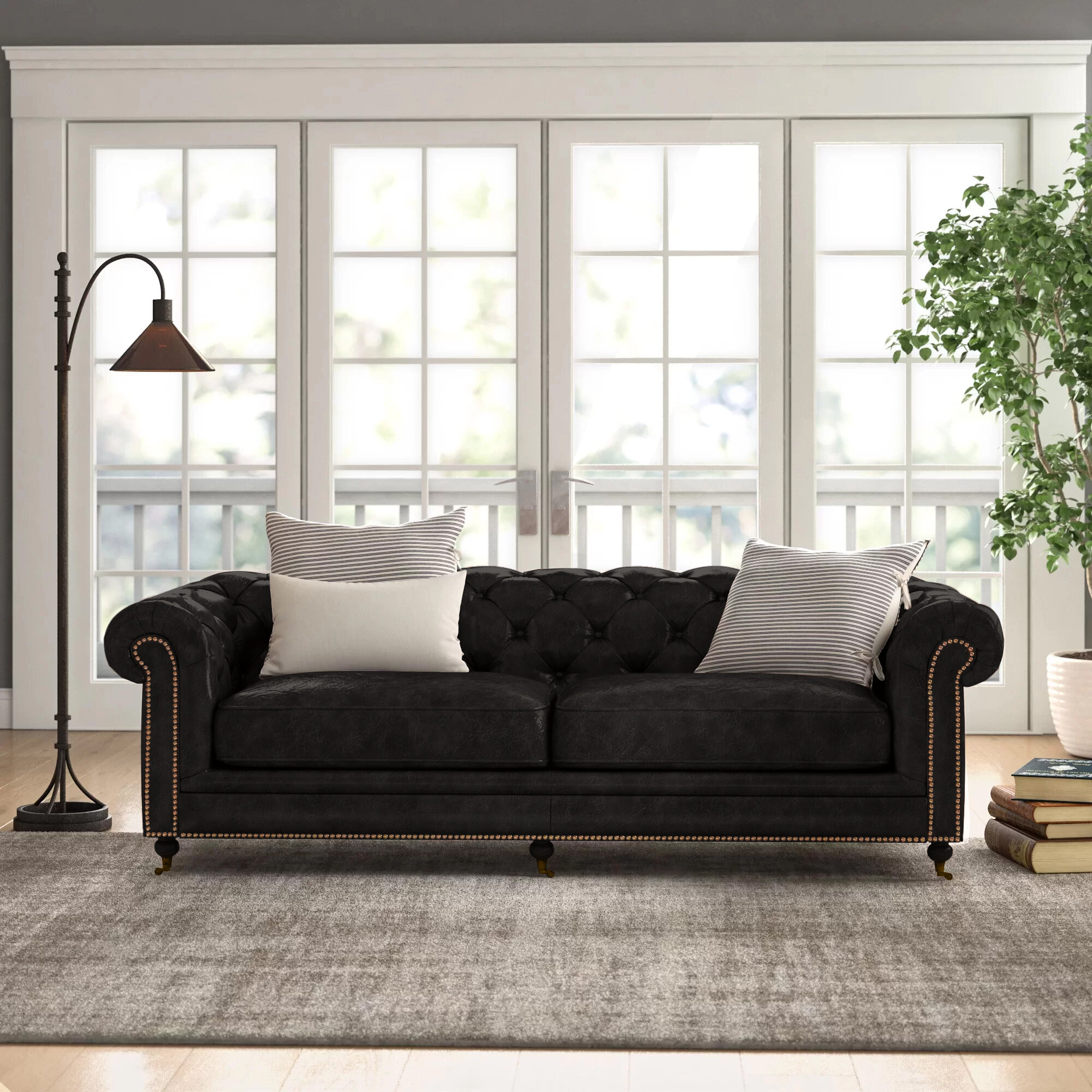 Larsen 89 Genuine Leather Chesterfield Rolled Arm Sofa Reviews Birch Lane