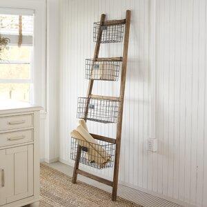 Vertical Wooden 24″ W x 74″ H Decorative Ladder