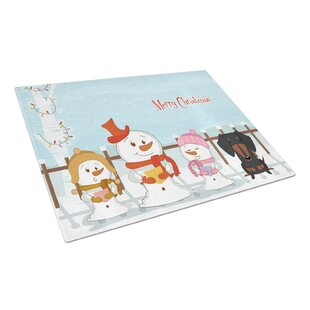 Merry Christmas Carolers Glass Dachshund Cutting Board ByCaroline's Treasures
