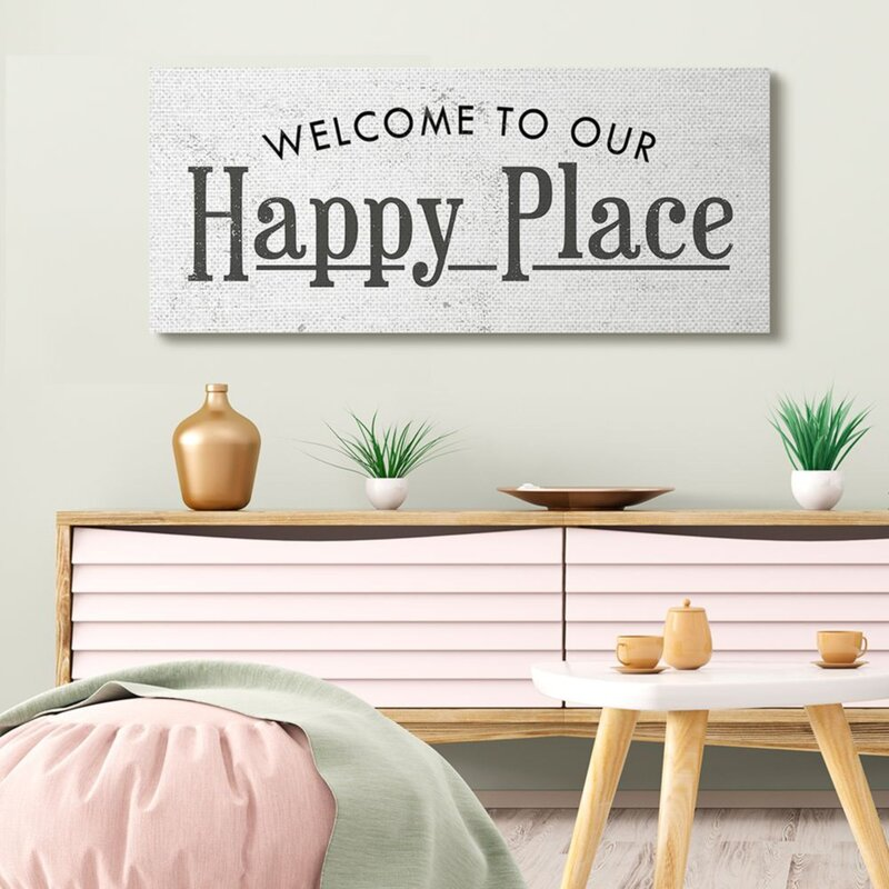 Welcome to Our Happy Place Phrase Minimalist Design by Daphne Polselli - Graphic Art Print