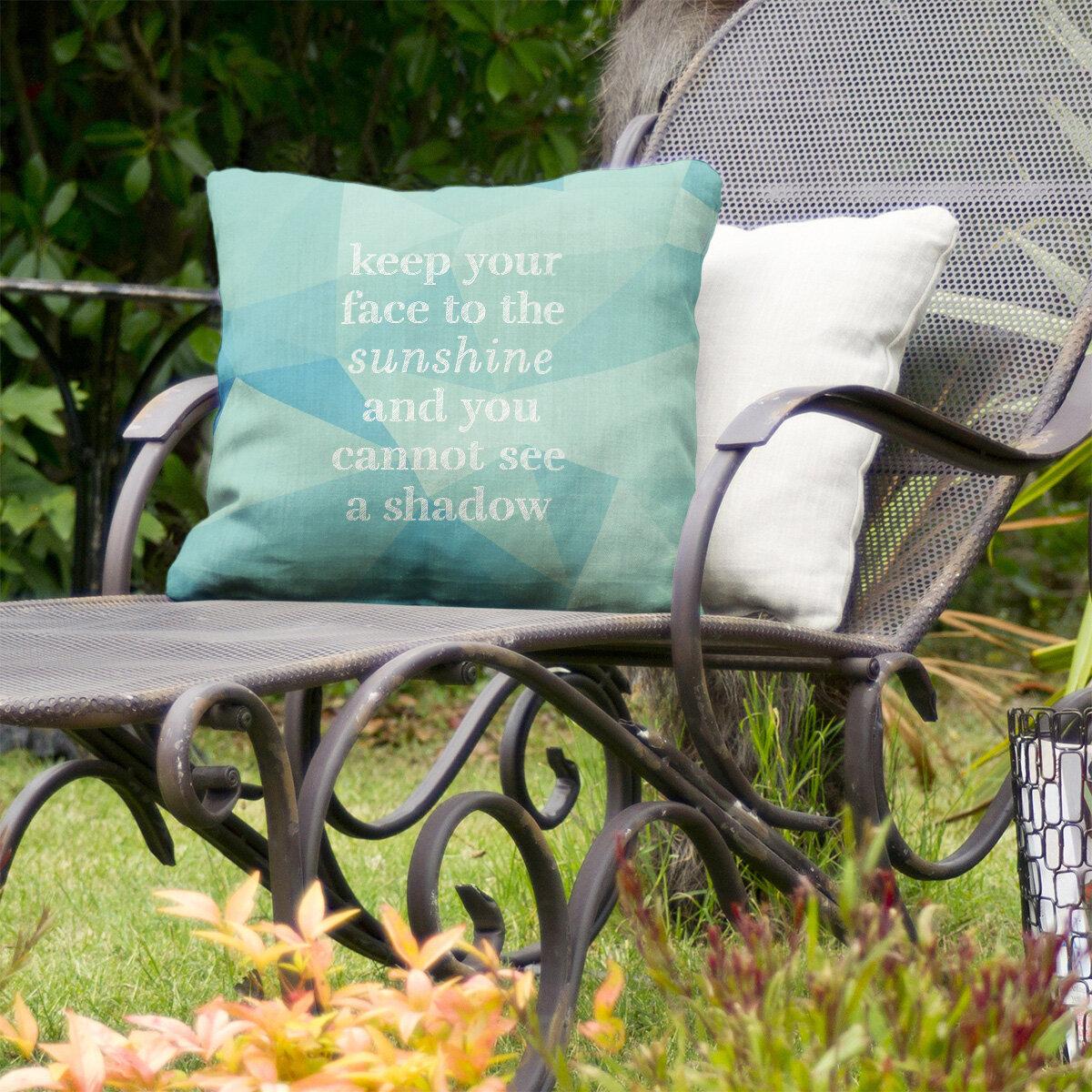 East Urban Home Optimism Inspirational Indoor Outdoor Throw Pillow In Zircon In 18 X 18 Wayfair