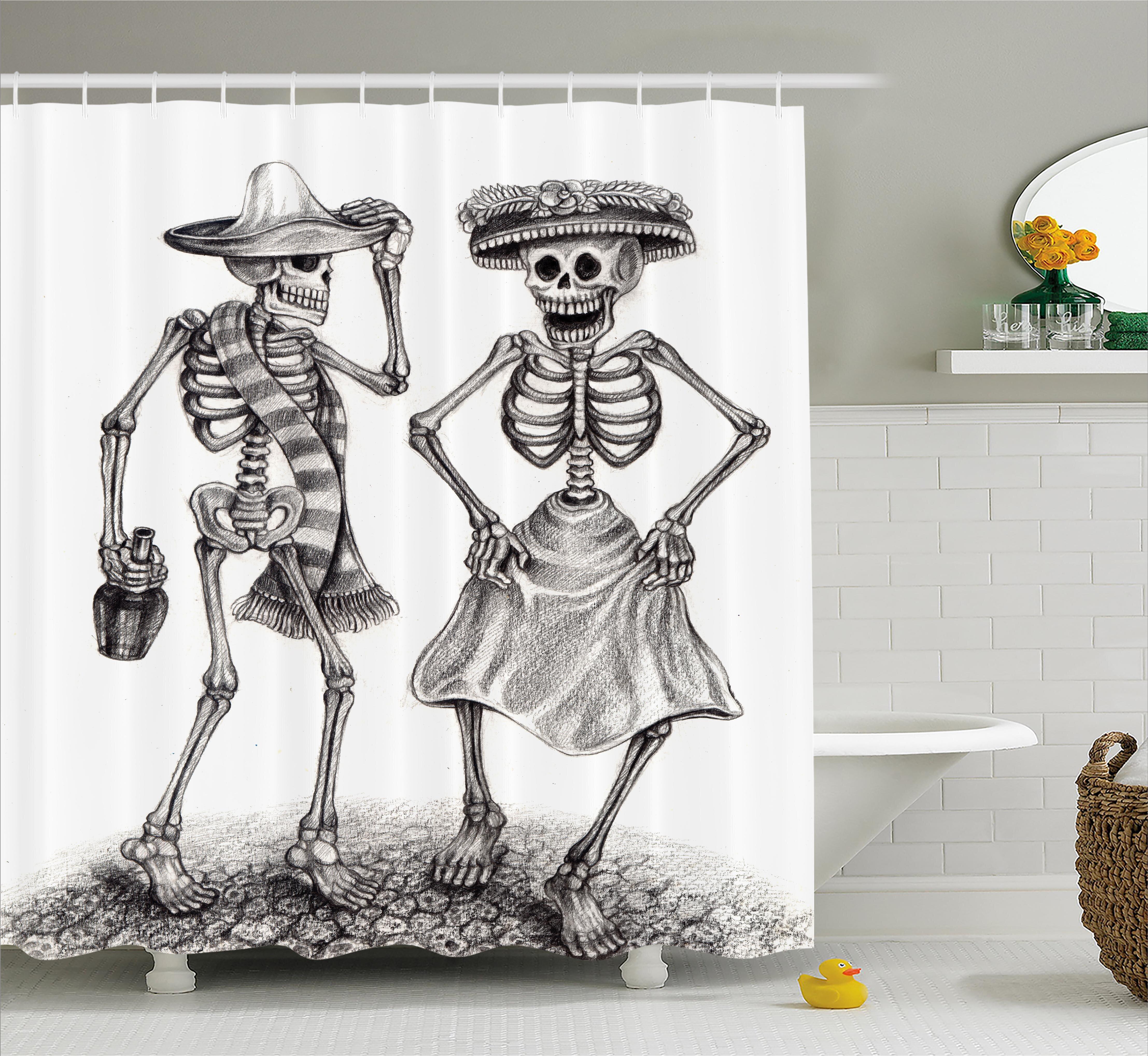 Ebern Designs Kristie Day Of The Dead Festive Celebration Mexican Dancing Couple Skeleton Art Print Shower Curtain