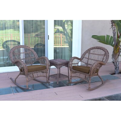3-Piece Lalani Patio Seating Group Fabric: Brown, Frame Color: Honey by August Grove