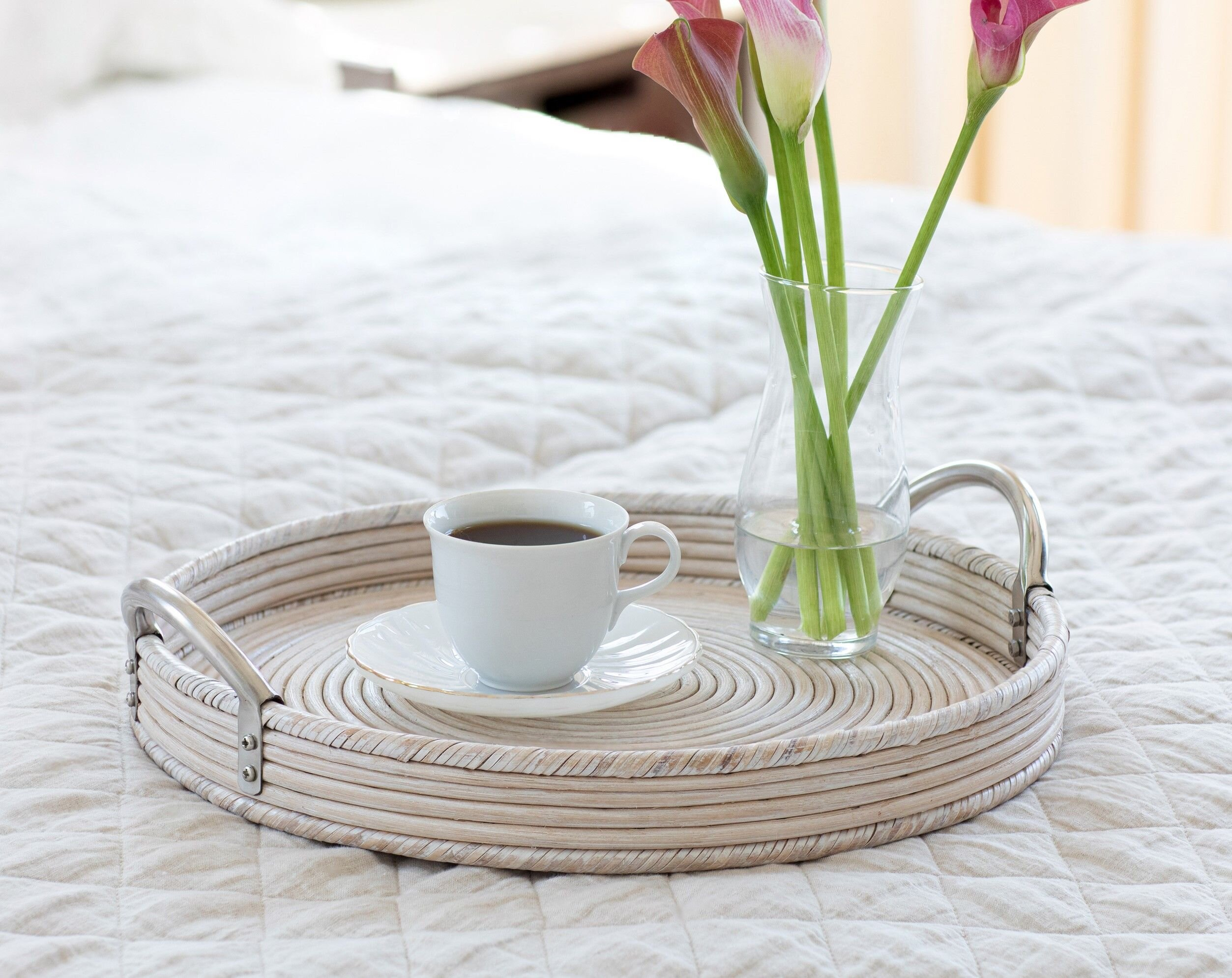 Highland Dunes Saboga Sattu Round With Stainless Steel Handles Ottoman Coffee Table Tray Reviews Wayfair