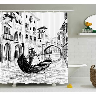 Sketchy Mediterranean Decor Shower Curtain + Hooks
