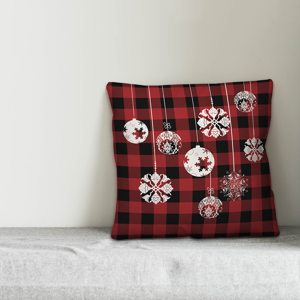 The Holiday Aisle Chaffins Christmas Ornaments Throw Pillow Cover Wayfair