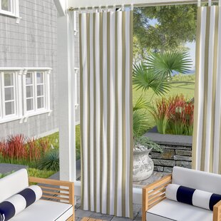 Berklee Striped Light Filtering Outdoor Tab Top Single Curtain Panel by Beachcrest Home