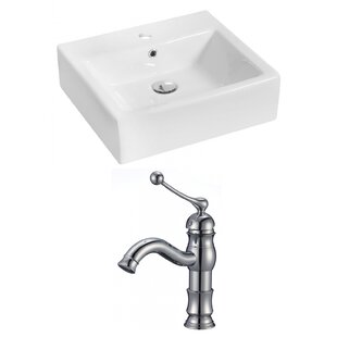 Buy clear Ceramic Rectangular Vessel Bathroom Sink with Faucet and Overflow ByRoyal Purple Bath Kitchen