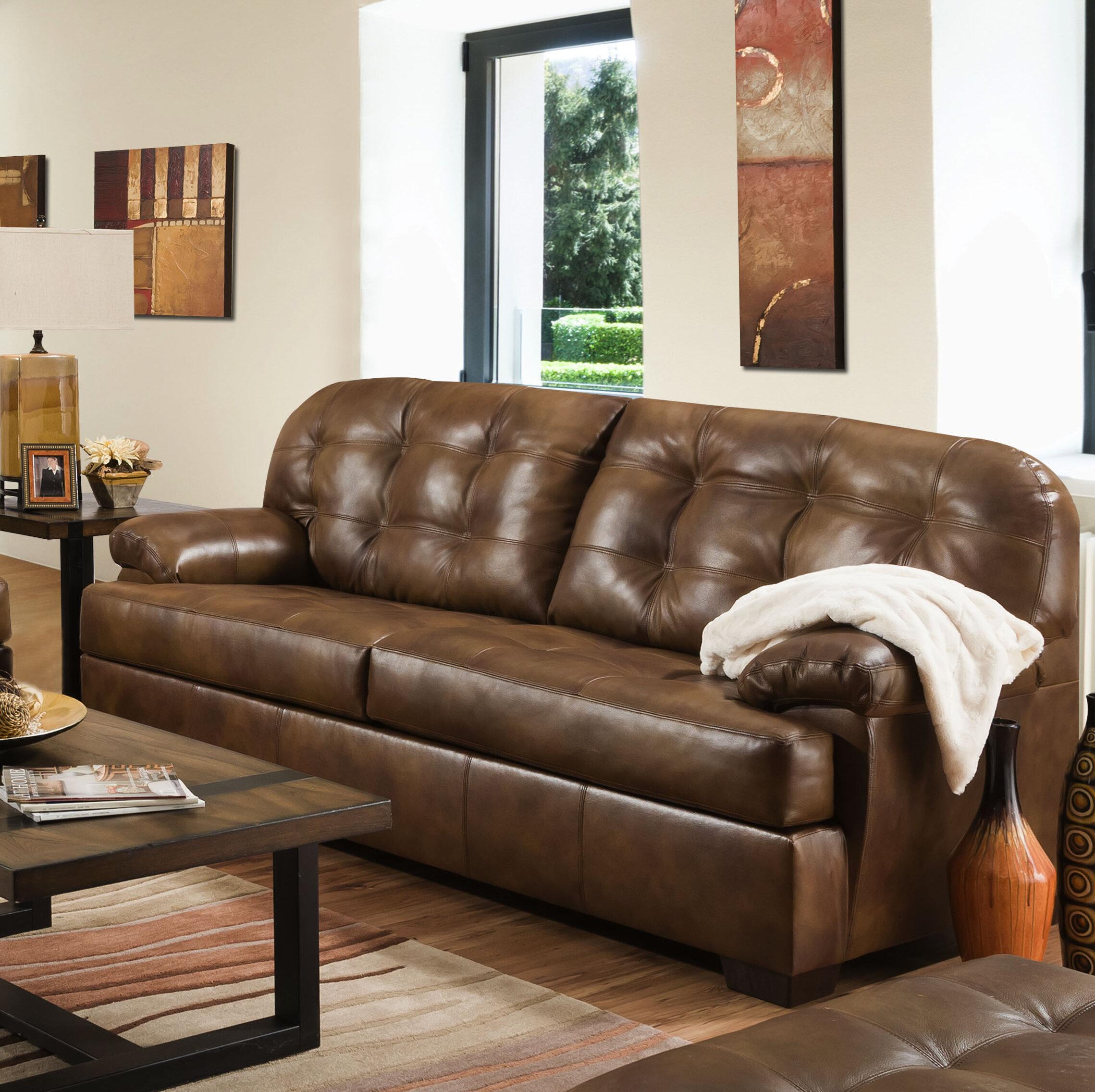 Millwood Pines Joan Leather Sofa Wayfair