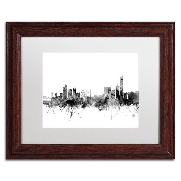 Trademark Art Manchester England Skyline B W Framed Graphic Art Print On Canvas Wayfair
