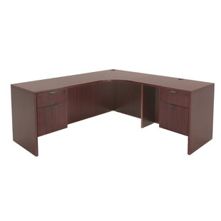 Linh Double Pedestal Credenza Right L-Shape Corner Desk by Latitude Run Savings