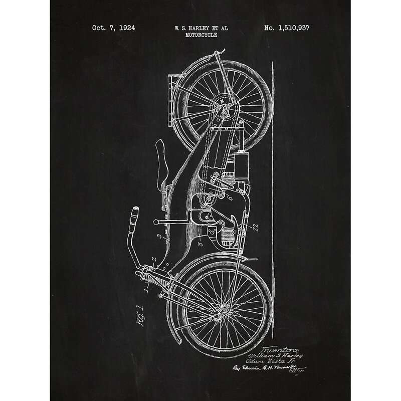 Old Harley Davidson Motorcycle Chalkboard Wall Art Poster Patent Print Gift Idea