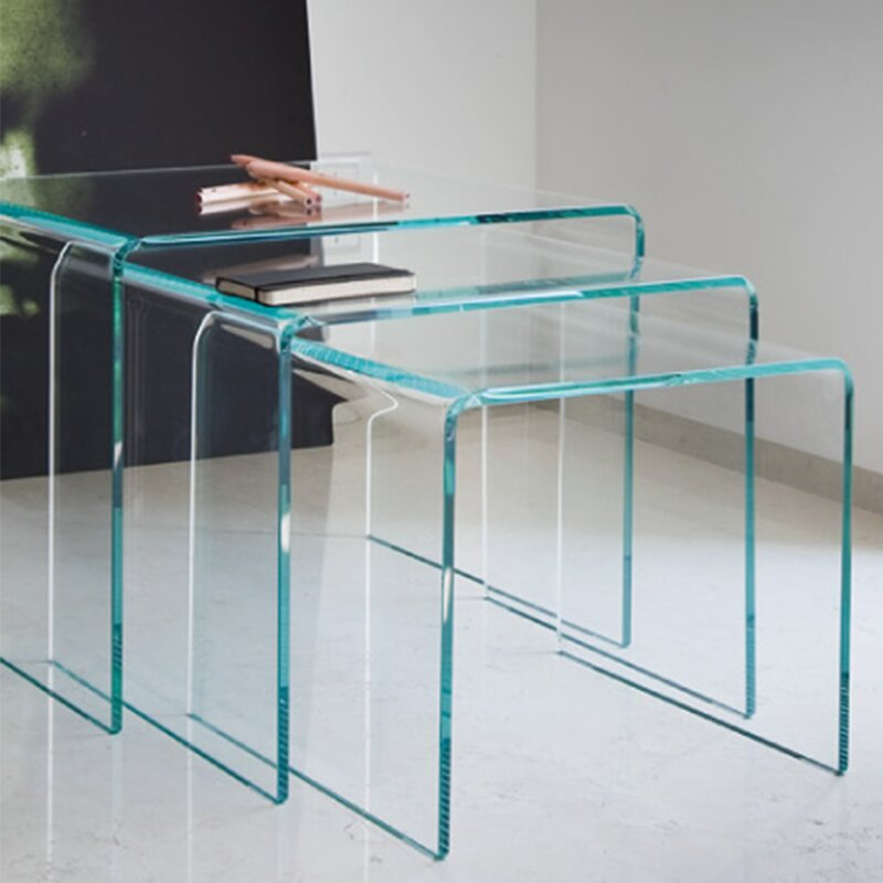 Fab Glass And Mirror Piece Clear Bent Glass Nesting Tables - Clear nesting tables