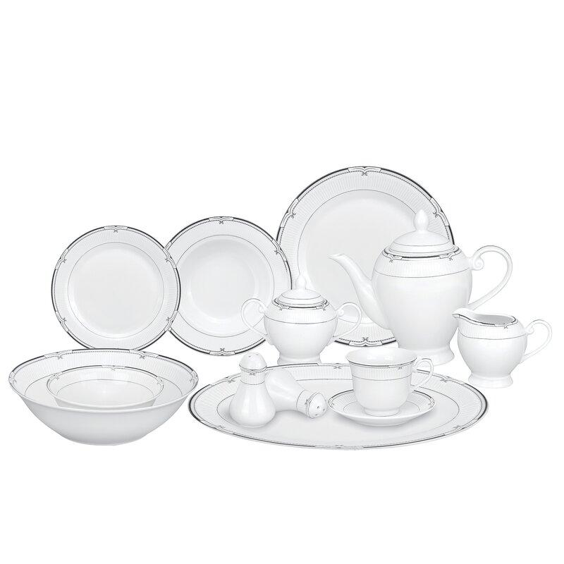 Rio Porcelain 57 Piece Dinnerware Set Service for 8  sc 1 st  Wayfair & Lorren Home Trends Rio Porcelain 57 Piece Dinnerware Set Service ...