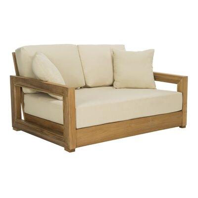 Montford 52 75 Wide Outdoor Teak Loveseat With Cushions Joss Main