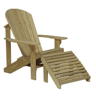 Solid Wood Adirondack Chair with Ottoman