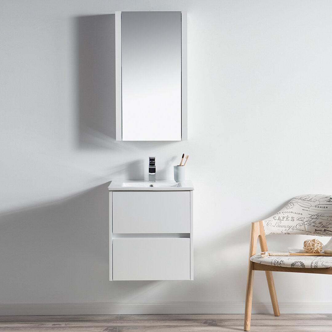 "Orren Ellis Oquendo 20"" Wall-Mounted Single Bathroom Vanity Set with Medicine Cabinet | Wayfair"