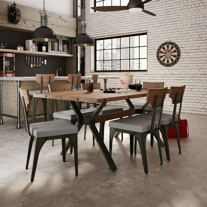 17 Stories Darcelle 7 Piece Industrial Dining Set & Reviews | Wayfair