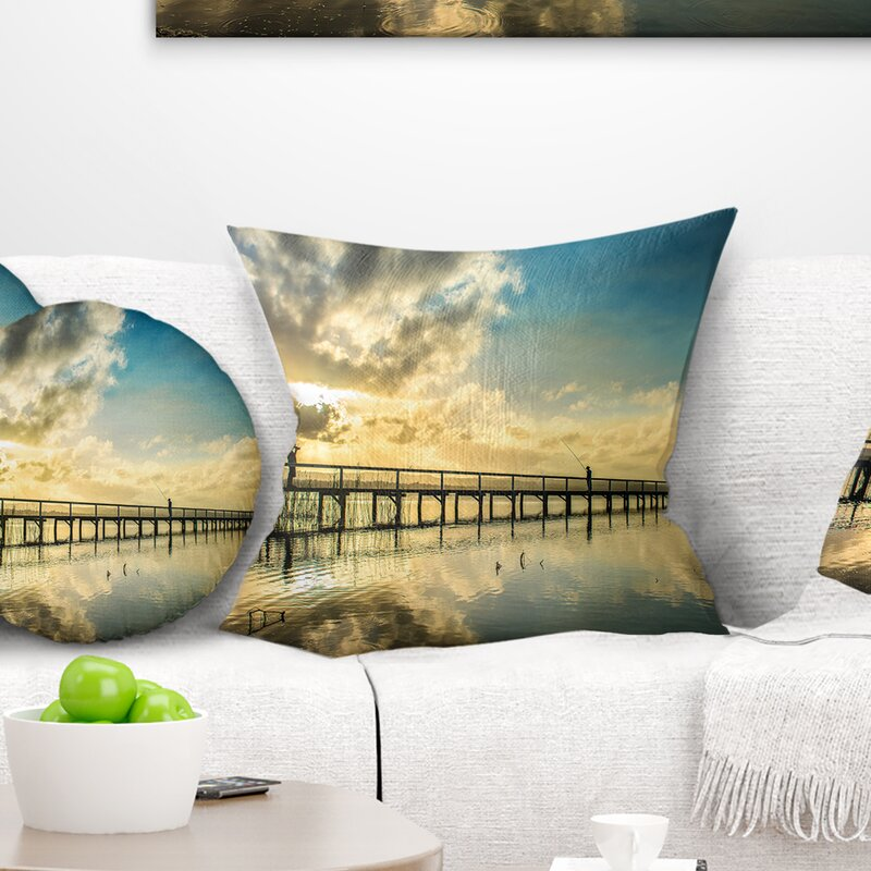 East Urban Home Long Jetty Foreshore Reserve With Clouds Sea Bridge Pillow