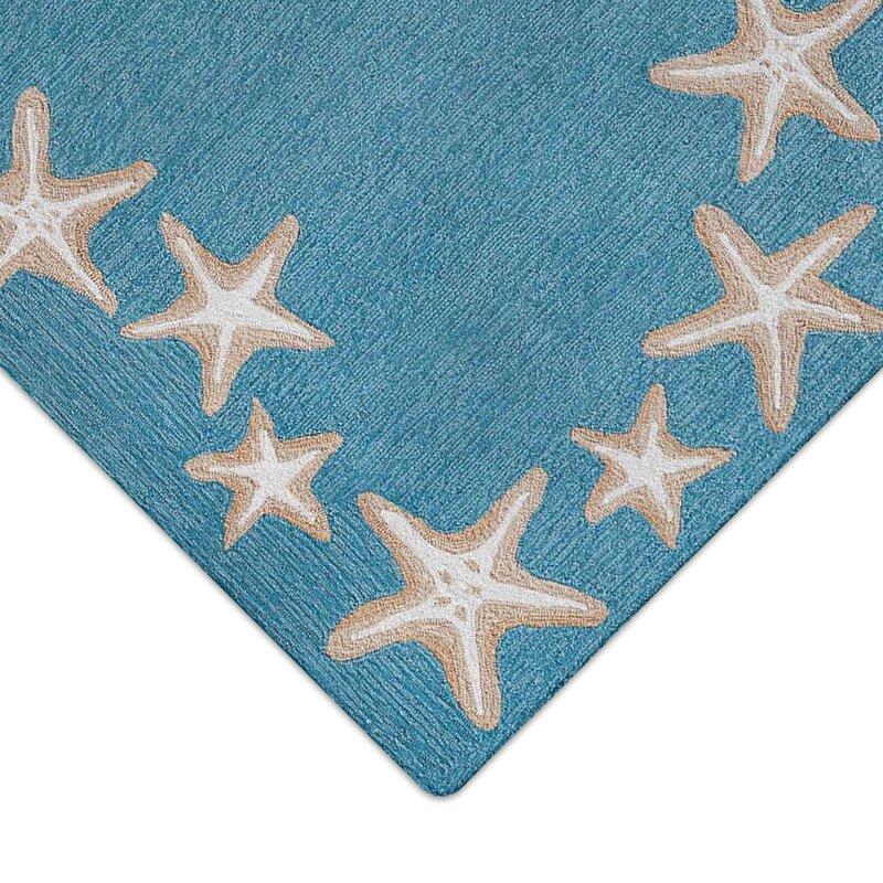 Highland Dunes Claycomb Starfish Border Hand Tufted Aqua Indoor Outdoor Area Rug Reviews Wayfair
