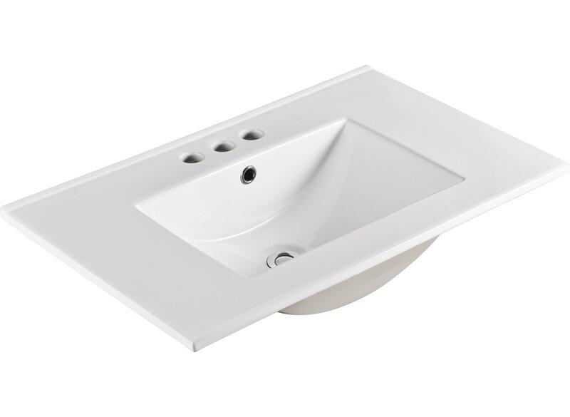 Bellaterra Home Ceramic 30 Single Bathroom Vanity Top In White With Sink Wayfair