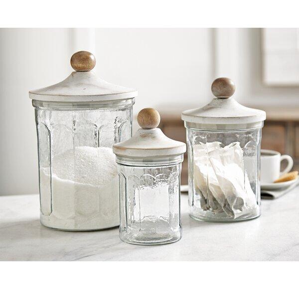 mud pie™ clear glass 3 piece kitchen canister set & reviews   wayfair
