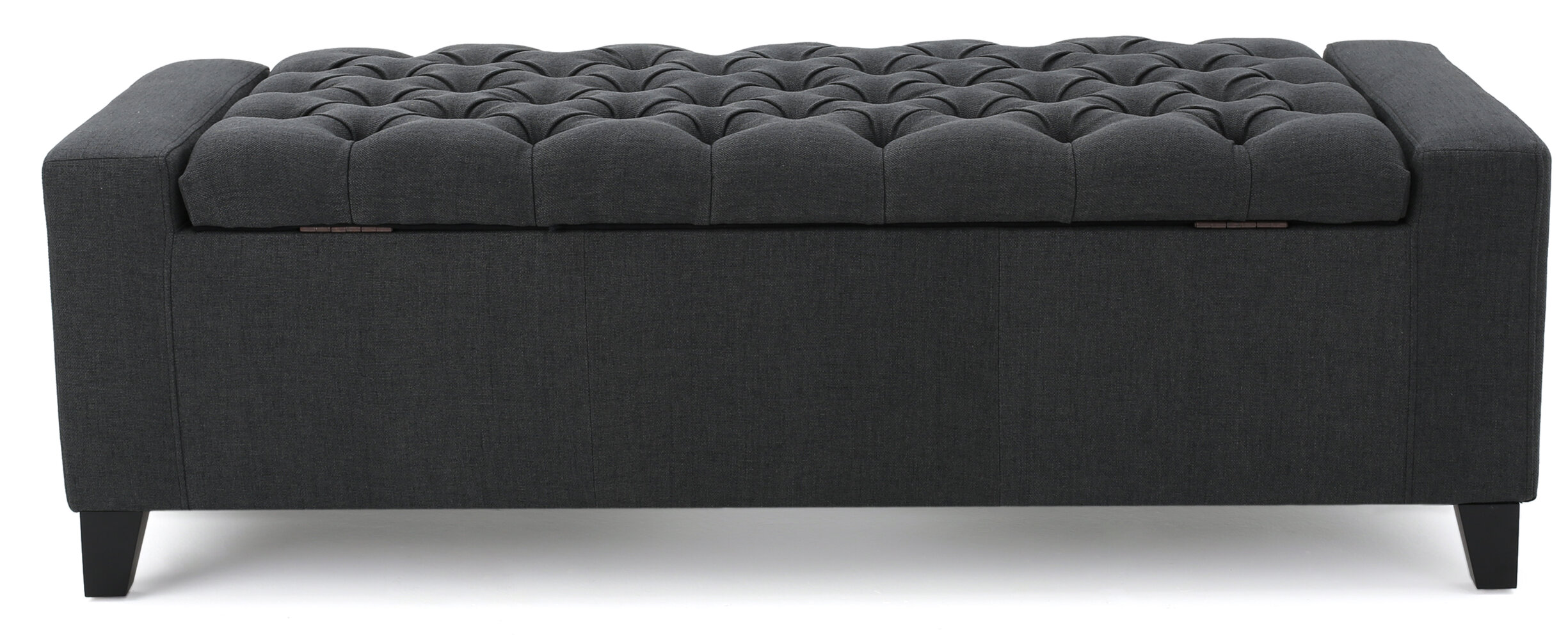 Luxury Shandra Charcoal Grey Tufted Top Storage Bench with Rich Wooden Legs