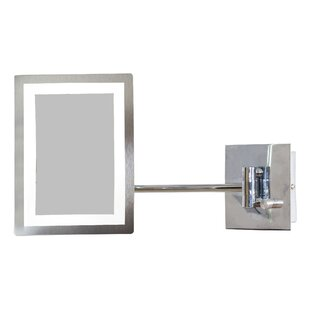 Royal Purple Bath Kitchen Rectangle Brass-LED Wall Mount Magnifying Wall Mirror