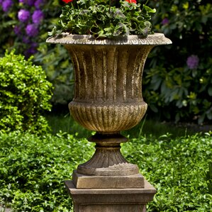Smithsonian Pedestal Cast Stone Urn Planter