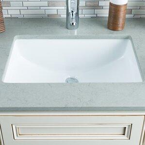 Ceramic Bowl Rectangular Undermount Bathroom Sink With Overflow