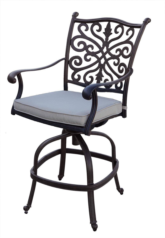 Image of: Canora Grey Bumgarner Counter Height Swivel Patio Bar Stool With Cushion Wayfair