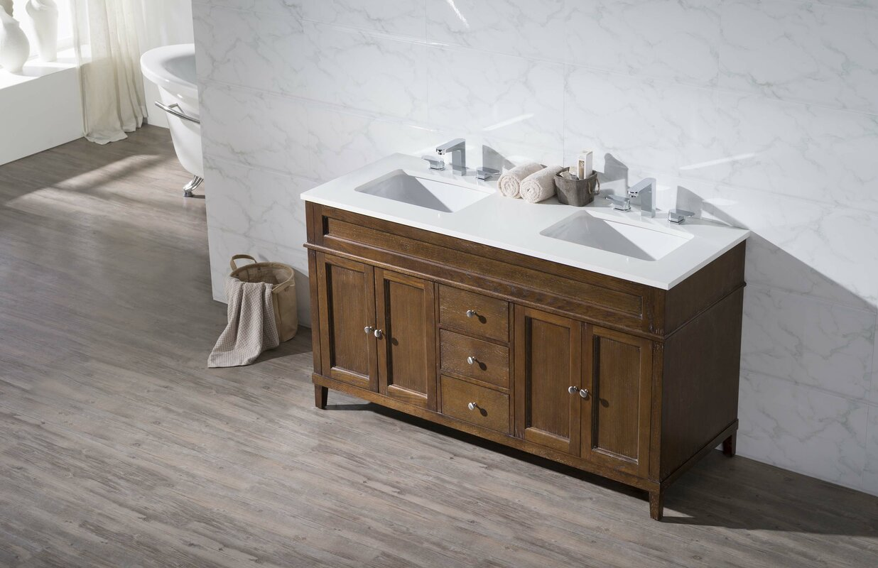 Design Double Sink Bathroom Vanity dcor design oakmont 59 double sink bathroom vanity set reviews set