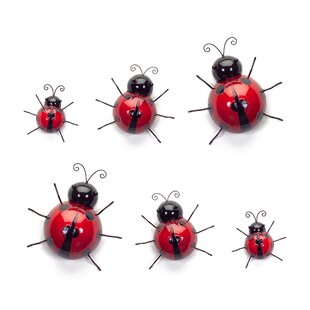 6 Piece Mountable Ladybugs Wall Décor Set