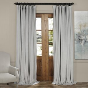 signature extra wide solid blackout velvet single curtain panel