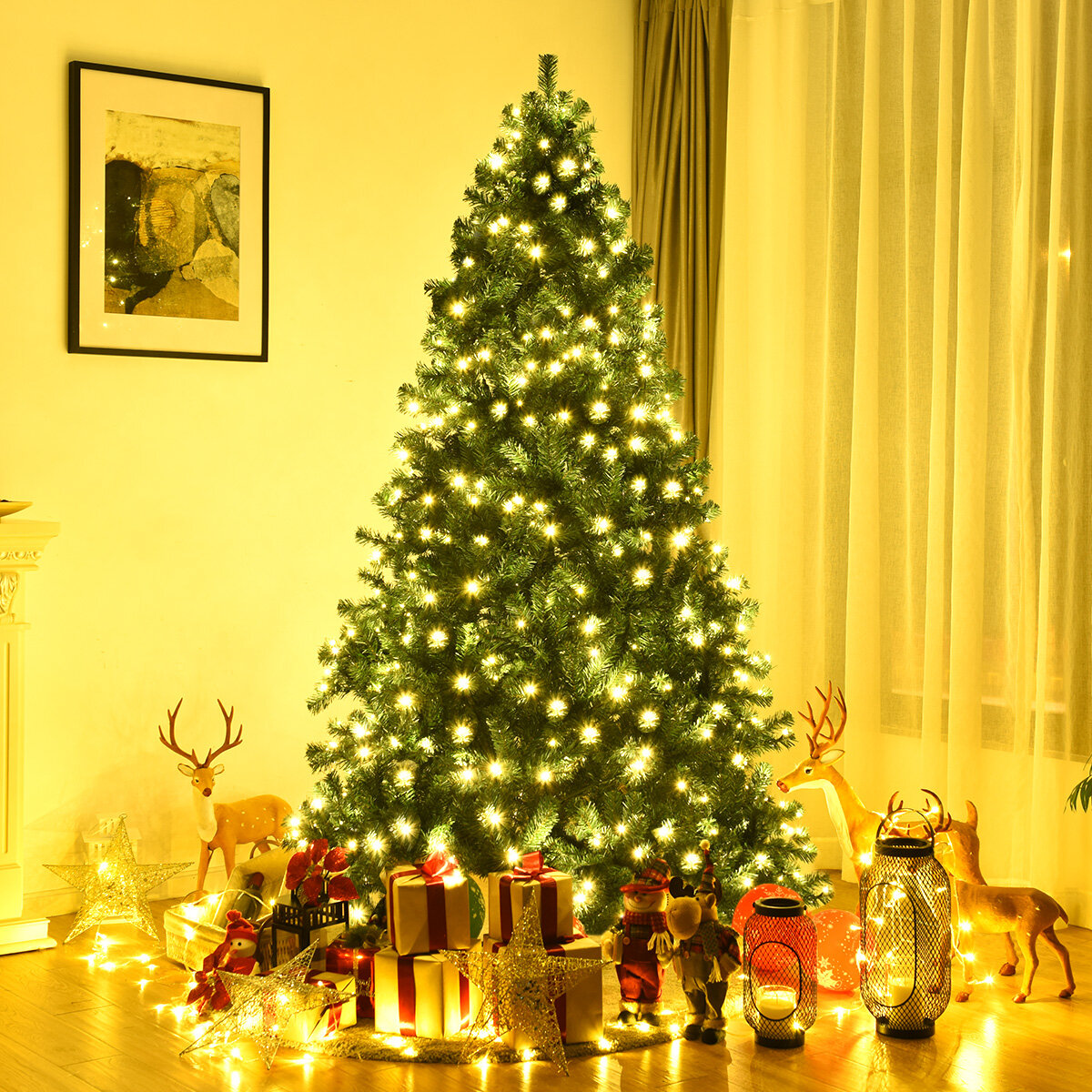 The Holiday Aisle 7 5 Green Pine Artificial Christmas Tree With 400 Single Colored Lights Wayfair