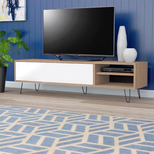 TV-Schrank Aero für TVs bis zu 60 | Wohnzimmer > TV-HiFi-Möbel > TV-Schränke | Weiß/braun/grau | Spanplatte - Stahl | Castleton Home