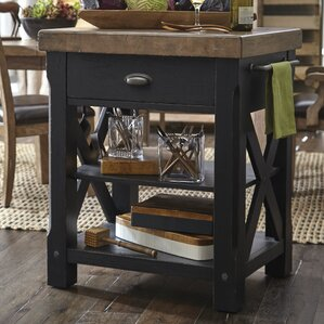 Dontae Accents Kitchen Island with Butcher Block Top by 17 Stories